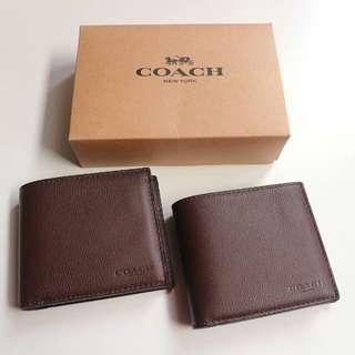 Coach Men Compact ID Wallet (ada tempat foto)