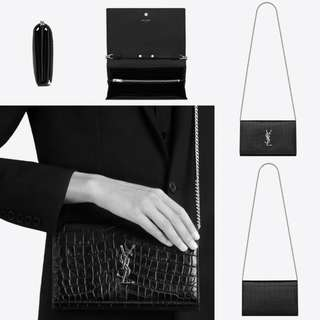 Saint Laurent Chain Wallet in Black Crocodile Embossed Leather