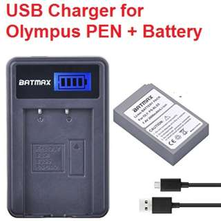* NEW * LCD Charger + 1 PS-BLS5 Battery for Olympus PEN E-PL2, E-PL5, E-PL6, E-PL7, OM-D E-M10, E-M10 II, Stylus1 for PS-BLS5 BLS-5 BLS5 BLS-50 BLS50 Battery