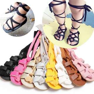 Preorder baby girl's leather high bandage sandals