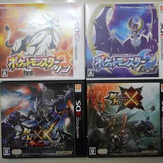 3DS pokemon sun moon mhxx mhx 日版 有中文