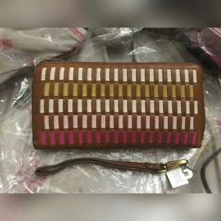Emma RFID large zip clutch pink multi
