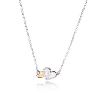 Pandora - heart silver necklace with 14k and Mother of pearl