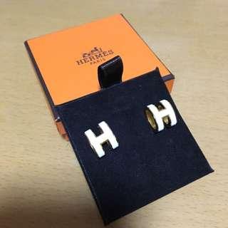 白色配金色Hermes Pop H耳環🎁拜年襯衫之選🎁