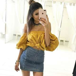 YELLOW BUBBLE SLEEVES OFF SHOULDER TOP