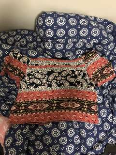 Printed off-shoulder Top