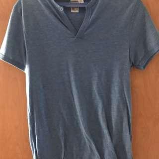 TOPSHOP blue v neck t shirt