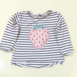 COTTON ON Long sleeve Strawberry Shirt (6-12m)