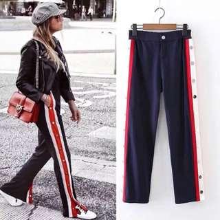 2018 European spring rivet stripes stitching women's casual pants