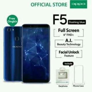 """Oppo F5 4GB/32GB Dashing Blue – Smartphone Full Screen 6"""" FHD+ ( Free Ongkir, Cicilan Tanpa Kartu Kredit, Garansi Resmi Oppo Indonesia)"""
