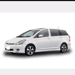 Toyota wish 7 seaters rental for Cny new year mpv