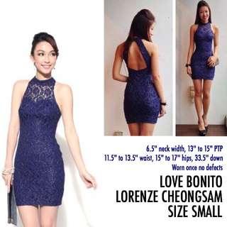 Love Bonito Lorenze Cheongsam Navy Blue Lace Dress Small S