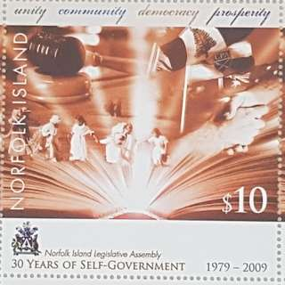 2009 Norfolk Island $10 Stamp - 30 Years of Self-Government (Whole Sheet)