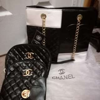 Chanel tote with three pouches