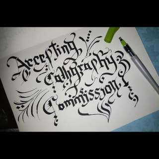 Gothic calligraphy commissiob