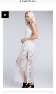 White lace maxi dress romper size M