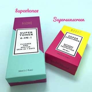 Nadre Supertoner & Super Sunscreen