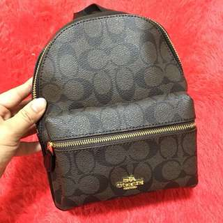 Coach Signature Mini Charlie Backpack in Pebble Leather F38302