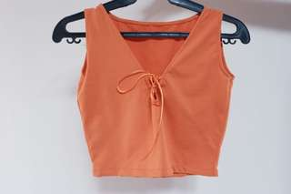 Orange Tie Up Crop Top
