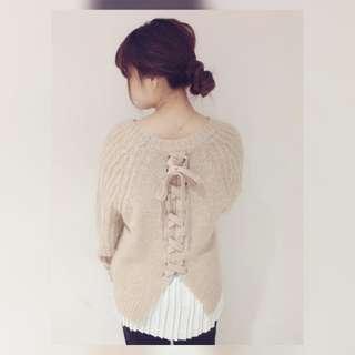 日系 最新款 甜美背部綁帶厚實針織衫(100%new)