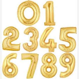 number foil balloon (0-9) & a-z