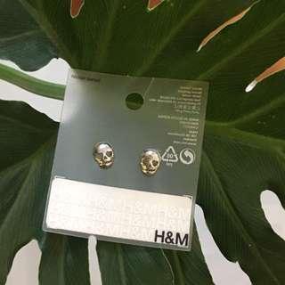 H&M Silver Skull Stud Earrings with Heart Eyes