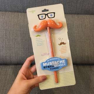 New Orange Pencil with Mustache Eraser