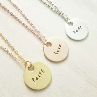 Custom Hand-Stamped Personalised Large Name Disc Necklace