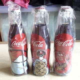 一套3枝日本和風圖案可口可樂紀念包膠樽