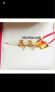 Fish bone earstuds  916 Gold by Mbrilliance