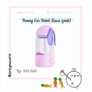 NEW Bunny Botol minum kaca pink 300mL