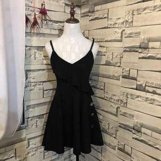 black suede flare dress