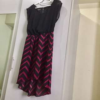 Flowy chiffon black dress with dark red-black stripes bottom design, good condition