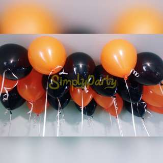 ORANGE AND BLACK HELIUM BALLOONS