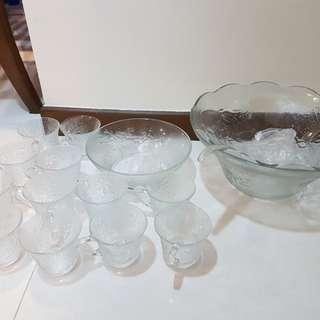 Lucite Punch Set, Bowls & Cups