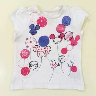 MOTHERCARE White Balloon Tshirt (12-18m)