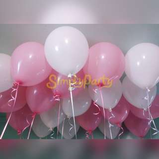 BLUSH PINK AND WHITE HELIUM BALLOON