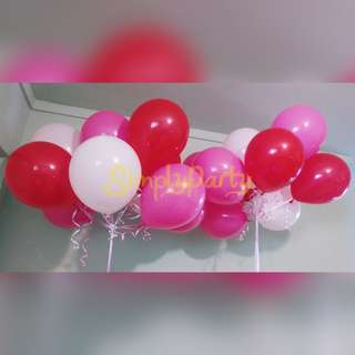 RED, HOT PINK AND WHITE HELIUM BALLOONS