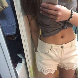 F21 lace trimmed shorts