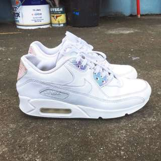 FREE SHIPPING! AUTHENTIC Nike Airmax 90 Premium White Blue Hologram