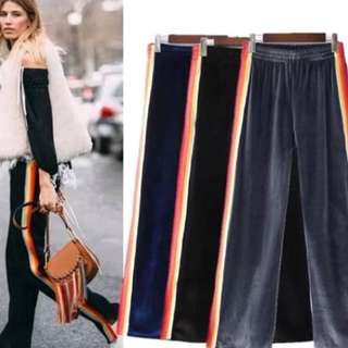 European tricolor velvet side color stripes open wide leg pants women casual pants