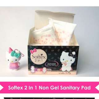 100PCS Softex Hello Kitty 2 in 1 Sanitary Pads | Heavy Flow + Day 20pcs x 5 PACKS