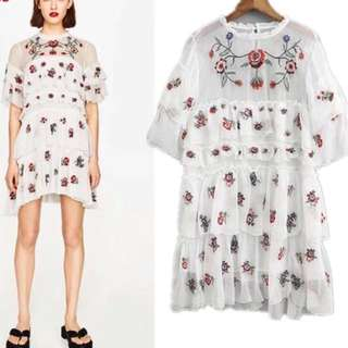 FLORAL EMBROIDERY RUFFLE DRESS $99.90