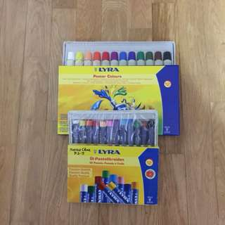 Assorted crayons, colour pencils, poster colours