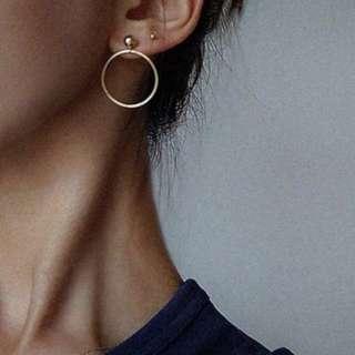 Gold or silver stud hoop earrings