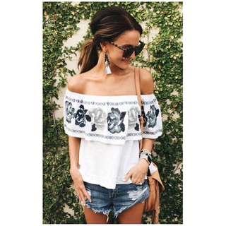 Floral off shoulder blouse