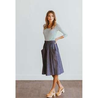 Cotton Shirt + Denim Skirt Coordinates