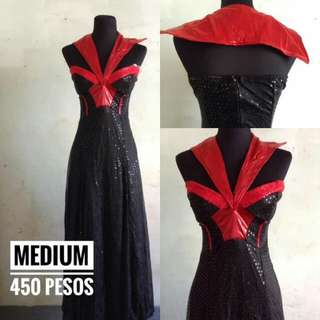 RED DETAILED LONG GOWN