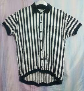 Preloved Black & White Stripes Long Top