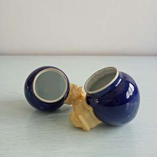 A Pair Of Old Blue Glazed Hua Bee Cup perfect pair for $128